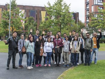 Campus tour during the Freshers' Week at Aston University